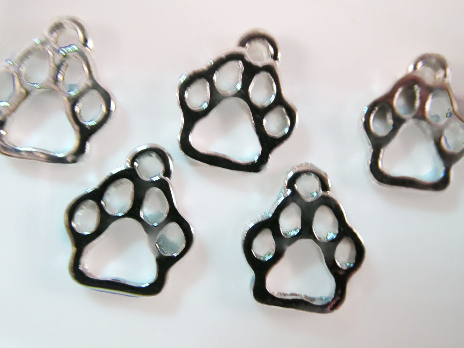 5 paw print charms 12mm cat animal lover