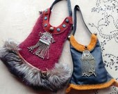 Gypsy,bohemian,Afghan,  Fur,Leather bag (Large size ),NomadWorld