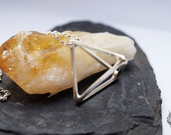 Sterling Silver Pyramid Cage Necklace ~ geometric, triangle, modern, edgy, simple, pendant