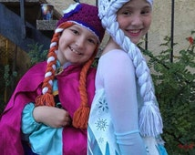 Elsa and Anna Wig set -  Elsa and Anna crochet hats - Bling and Sparkle Disney Frozen princess set