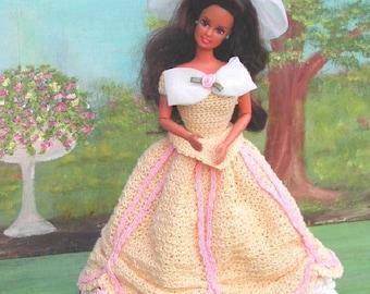 Crochet Fashion Doll Barbie Pattern- #177 VICTORIA IN YELLOW