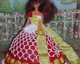 Crochet Fashion Doll Barbie Pattern- #192 AMERICAN BEAUTY