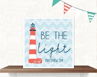 nautical print nursery boy lighthouse light verse INSTANT DOWNLOAD