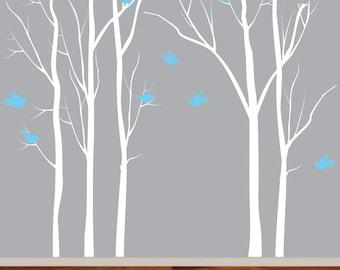 Birch Nursery Trees, Modern Nursery Wall Art, Birch Trees, Birds, Vinyl Decals, Nursery Art Dec