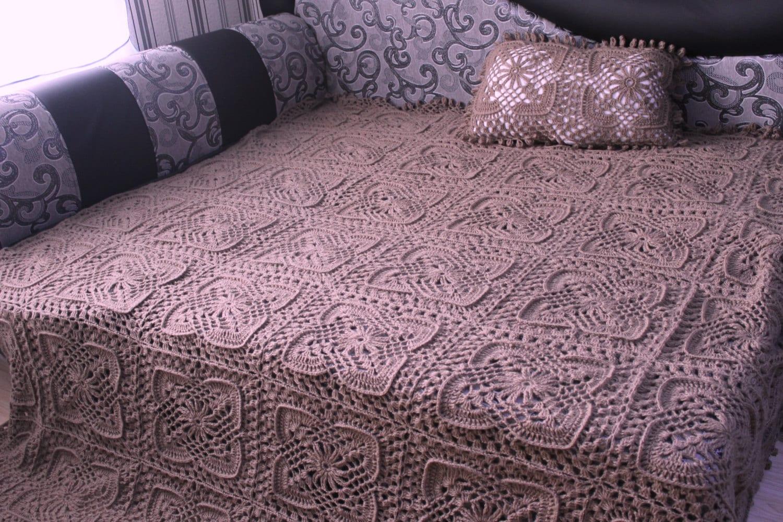 crochet laine m lange couverture couvre lit voile russe de. Black Bedroom Furniture Sets. Home Design Ideas