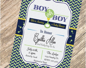 Boy Baby Shower Personalized 4x6 OR 5x7 Invitation in Hi-Res JPEG or PDF Format with Free Back