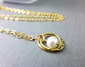 Single Freshwater Pearl Bridal Necklace, Simple Pearl Necklace, Double Gold Circle with Pearl, Chakra Jewelry