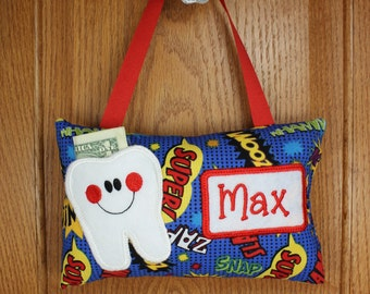 Boys personalized tooth fairy pillow comic book theme, optional tooth chart available
