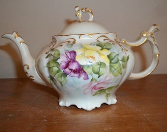 Vintage JP Limoges  Tea Pot - Hand-painted