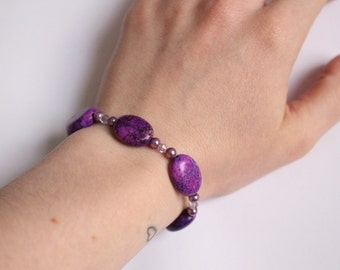 Violet Stone Bracelet with Swarovski Crystals and Pearls