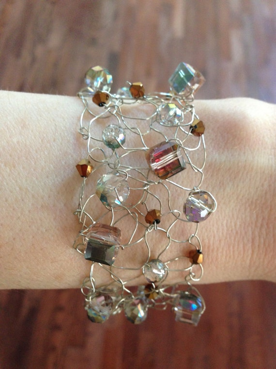 Knitting With Wire And Beads : Handmade knitted silver wire bracelet with crystal beads in