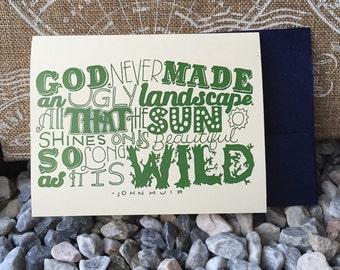 Wild Landscapes John Muir Hand Lettered Card