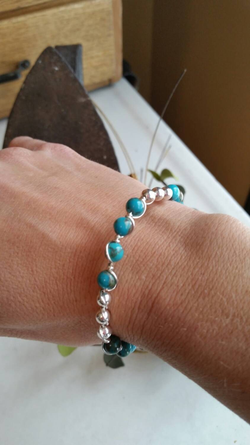 Beautiful Hand wired Turquoise and Sterling silver bead Bracelet 7 ...