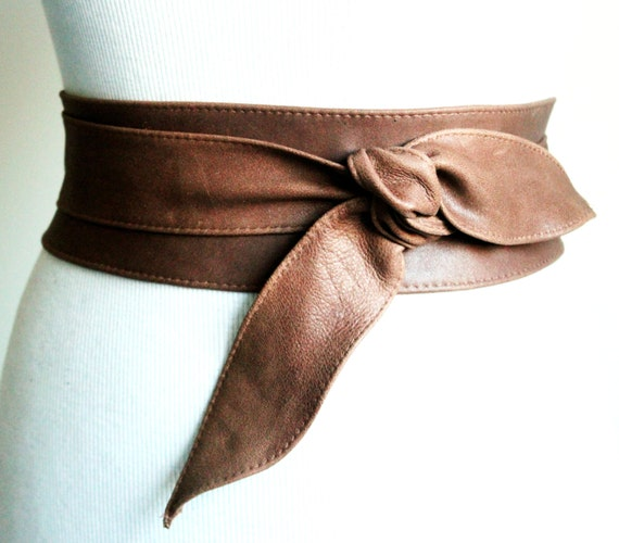 distressed brown leather obi belt tulip tie waist or by
