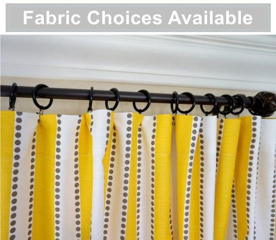 "Yellow Grey White Designer Window Treatments Drapery Curtains 63"" 84 ..."