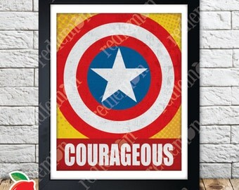 Captain America Comic Book Superhero Icons Print