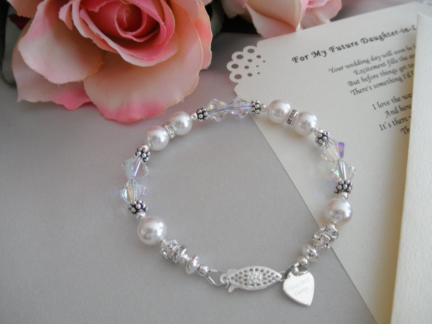Daughter Son In Law Personalized Poem Christmas Gift: Wedding Bracelet And Personalized Poem Or Note For Your Future
