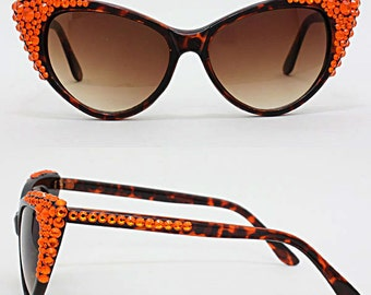 Crystal Cornered Cat Eye Sunglasses