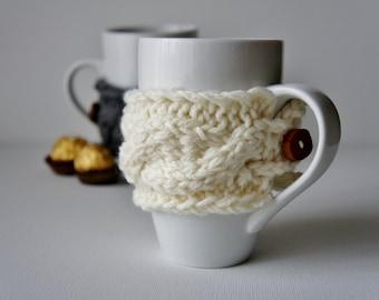 SET OF 2 Coffee Cup Cozy, Tea Cup Cozy, Coffee Cup Cozie, Coffee Mug Cozies, Coffee Cup Sleeve, Knit Mug Cozy, Knit Cup Cozy