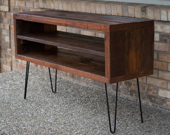 "Rustic TV Stand W/ Reclaimed Barn Wood & Shelf- Solid Oak W/ 8"" Hairpin Legs"