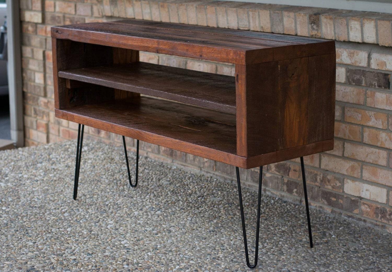 Rustic Tv Stand W Reclaimed Barn Wood Shelf Solid Oak W