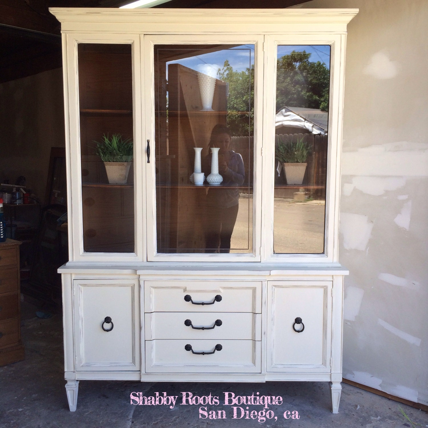 antique shabby chic regency china cabinet by shabbyrootsboutique. Black Bedroom Furniture Sets. Home Design Ideas