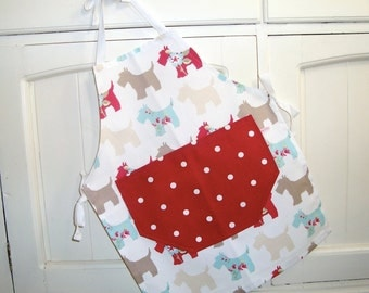 Child's Red Scottie Apron, Red Dotty Apron, Child's Dogs Apron, Full Child's Apron