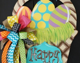 Easter Basket Door Hanger, Easter Door Hanger, Easter Wreath