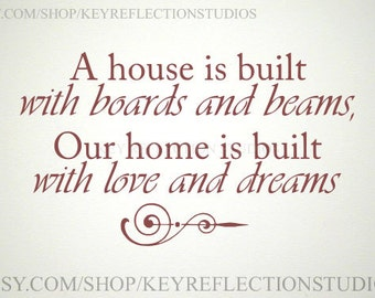 Our Home is Built with Love and Dreams wall decal