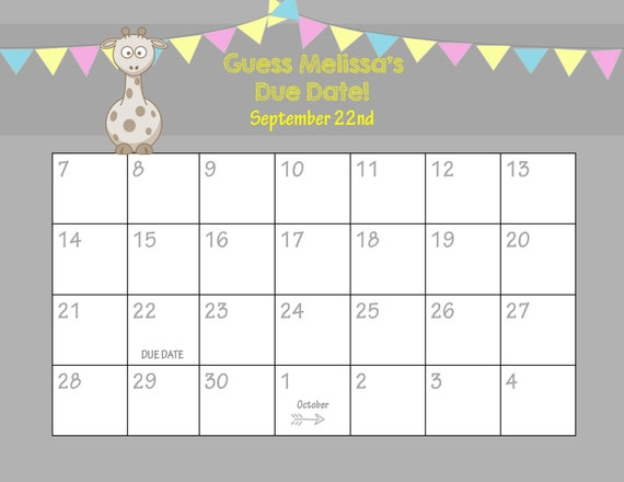 Calendar Shower Ideas : Items similar to printable due date calendar baby