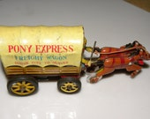 MARX Line Mar Tin Friction Wind Up PONY EXPRESS Wagon