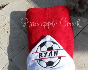 Soccer Ball Hooded Towel MONOGRAM INCLUDED