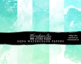 INSTANT DOWNLOAD // Aqua Watercolor Background Papers, Blog Design, Web Design, digital watercolor, personal, CU and B4H