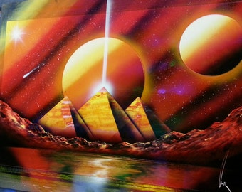 PYRAMIDS - Spray Paint Art - (14 in x 22 in) Space Paint ingredients for 7 and then the rest are the most part