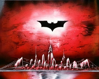 BATMAN GOTHAM - Spray Paint Art - (14 in x 22 in) Space Painting