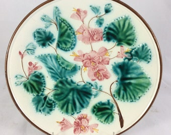 Majolica Flower Plate With Pink Flowers