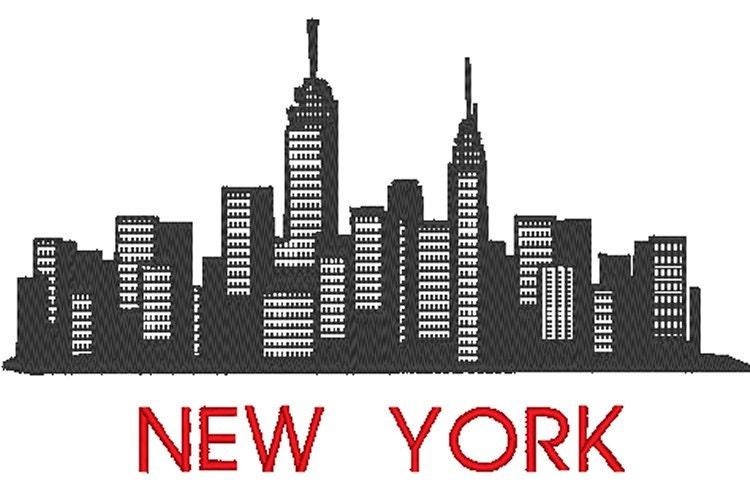 New york city skyline manhattan embroidery design