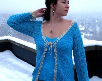 Knitted cardigan, crochet cardigan, lace cardigan, blue cardigan, openwork cardigan, hand knit, cardigan, boho clothing, women clothing,