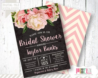 Vintage Floral Bridal Shower Invitation, Peony and Rose Invite - CUSTOMIZABLE PRINTABLE INVITATION - Shabby Chic, Pink and Black