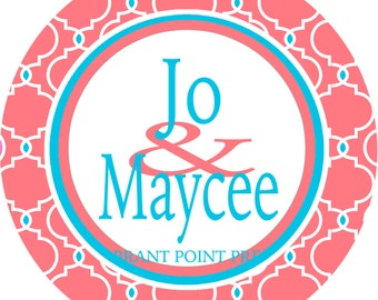 Coral Quatrefoil Dorm Room Sign.Custom  Personalized Roommates Sign is a great gift! Match the colors of the dorm room.  Dorm door! sign