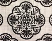 Black and White Medillion Upholstery Fabric