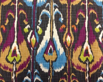 Tribal Ikat Upholstery fabric - Ikat Bands Slub Fabric - Upholstery Fabric By The Yard