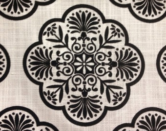 Black and White Linen Medallion Upholstery Fabric - Home Decor Fabric By The Yard