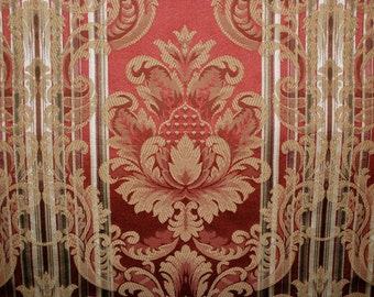 Striped Damask Fabric - Red and Gold - Damask Fabric - Upholstery Fabric By The Yard