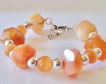Orange Gemstone Bracelet Natural Stone Beaded Bracelet Gift For Her Chunky Orange Bracelet Chalcedony Bracelet Gift for HerXmas Gift