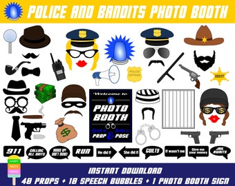 PRINTABLE Police Photo Booth Props-Police Photo Booth Sign-Robber,Bandit,Mafia,Prisoner,Officer,Sheriff,Detective Props-Instant Download