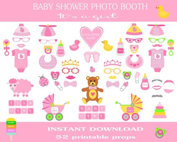 baby shower diy printable photo booth props its a girl baby shower