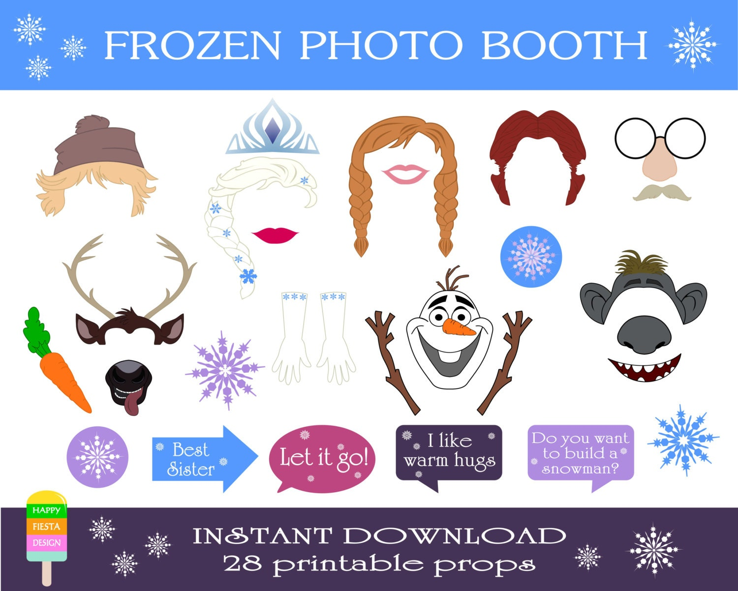 Frozen Photo Booth Props Free | New Calendar Template Site