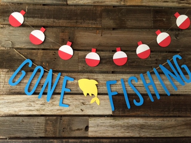 Gone fishing party banner gone fishing banner baby shower for Fishing birthday party
