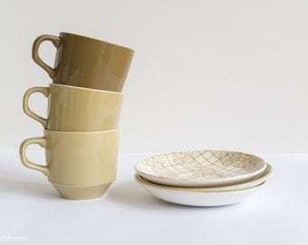 Three Cups + Saucers - Mix + Match - Made in New Zealand